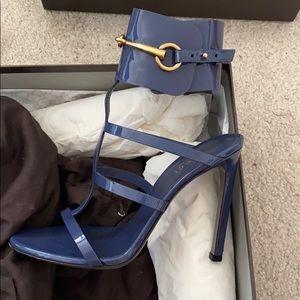 Gucci Ursula Patent Ankle-Wrap Cage Sandal